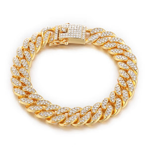 D&Z 8.5 inch Bling Iced Out Cuban Zirconia Cuban Miami Link Homme For Male's Hip Hop Street Bracelets Jewelry