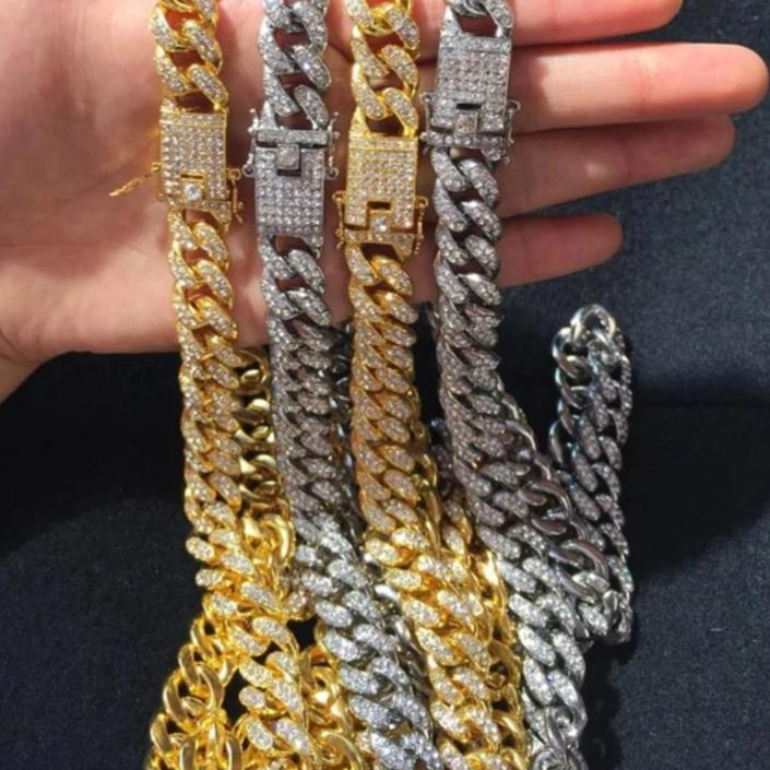 Iced Out 18k Gold Plated Cuban Chain - Curb Link Paved CZ Necklace - Hip Hop Miami Mens Jewellery