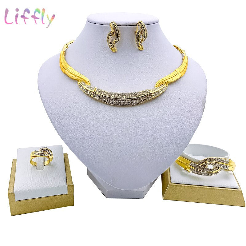 Liffly Dubai Fashion Jewelry Sets Crystal Necklace Charm Bridal Wedding Party Bracelet Earrings Ring for Women Jewelry