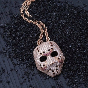 Rhinestone Mask Long Necklace Stainless Steel Pendant Necklace Hip Hop Broken Heart Necklaces Jewelry Gift Chain Necklace