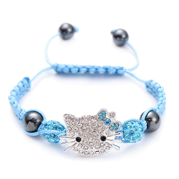 Kids Bracelet Children's Bracelet Connecte Handmade Cute Silver Cat Bracelet for Girls Boys Crystal Beads Braid Charm Bracelets
