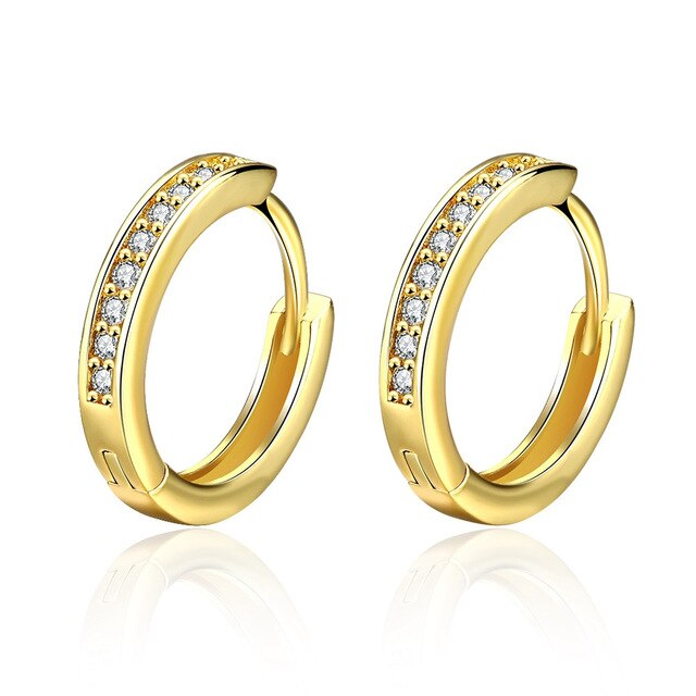 Gold Color Pave Clear Zirconia CZ Small Circles Huggies Hoop Earrings For Children Girls Baby Kids Jewelry brinco pequeno Aros