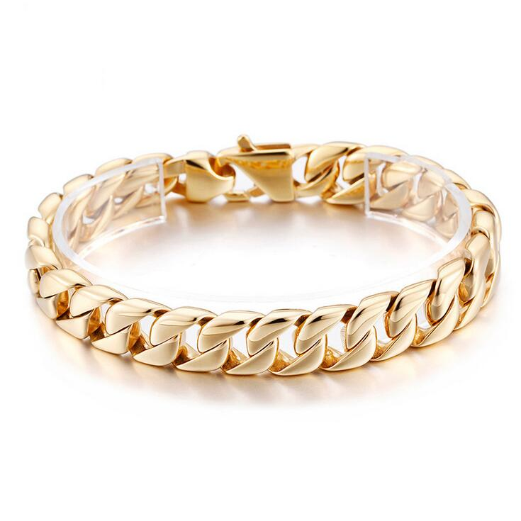 10mm Wide Heavy Gold Silver Stainless bracelet for Men