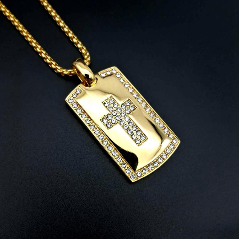 Cross Necklace Pave Rhinestone for Male/Female