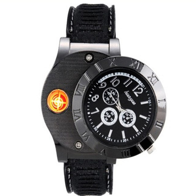 Men's Watch Electronic Cigarette Lighter USB Rechargeable