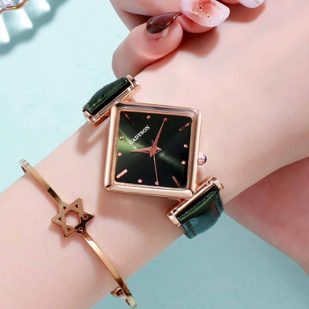 Geometric Square Gradient  Women watch