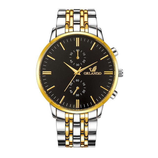 High quality Men's Silver Gold Plated Stainless Watch