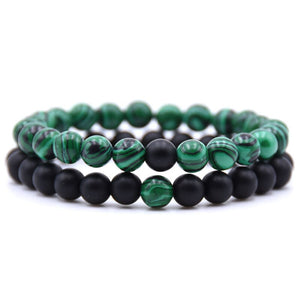 DIEZI  Bohemia 2pcs/set Black Green Bracelets for Lovers Couple Natural Beads Charm Stone Bracelets for Women Men Jewellery Gift