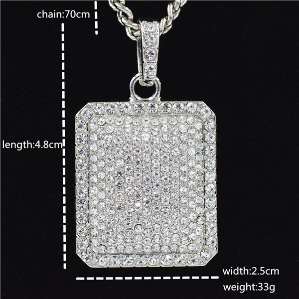 Fashion Men  Full New Cubic Zirconia Dog Tag Pendants Copper Cuban Chain Necklace Hip Hop Bling Iced Out  Gold Silver Jewelry