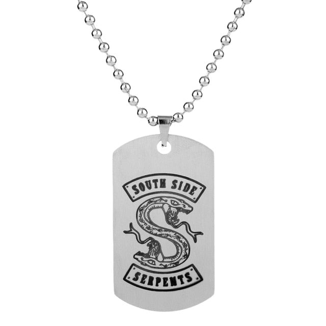 HANCHANG Jewelry Stainless Steel Dog Necklace Riverdale South Side Serpents Hat Pendant Necklace Bead Chain Collier