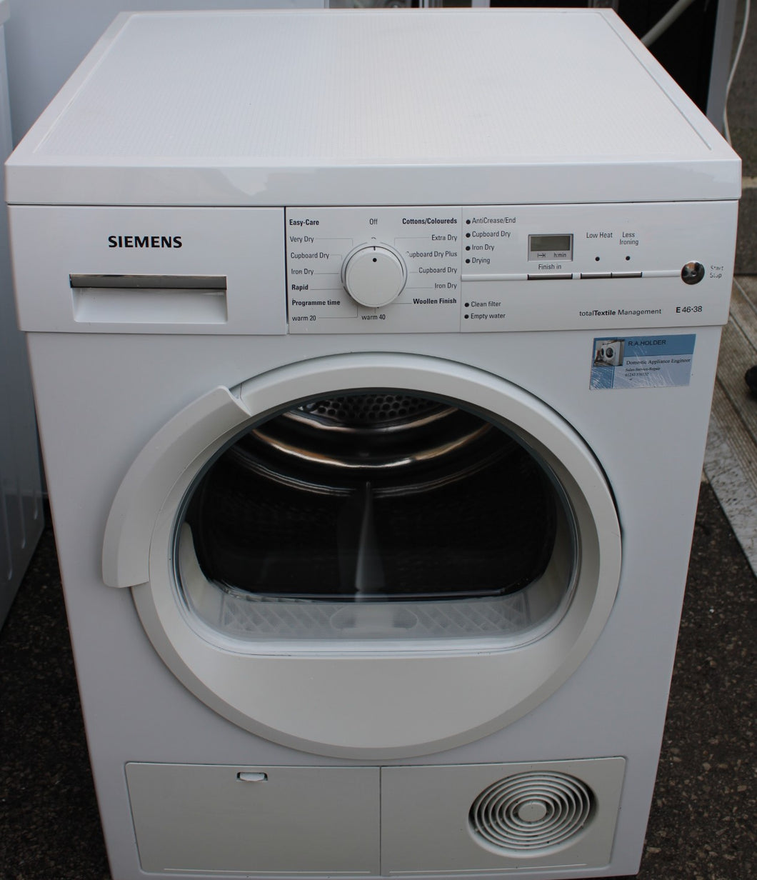 Siemens WT46E387GB Freestanding Condensor Dryer C rated 7 kg White