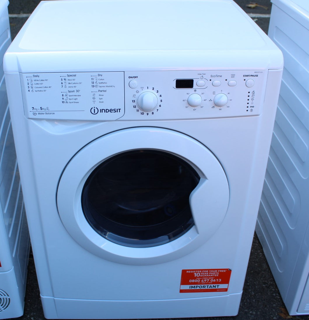 Indesit IWDD7123 7/5KG 1200 Spin Washer Dryer A rated White