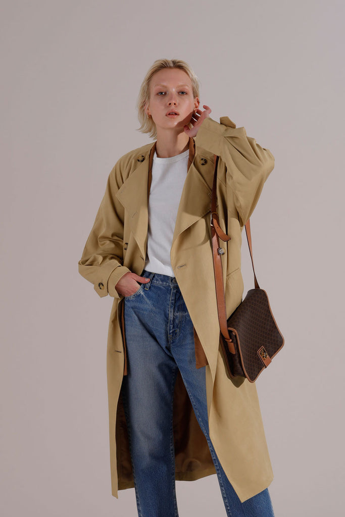 Collarless loose trench coat