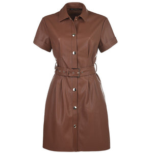 CATHY -  Ladies Short  Spring PU Leather Mini Dress