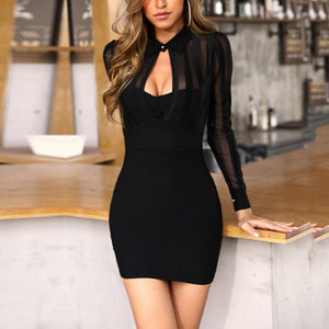 JILLIAN - Women Patchwork Slim Fit Cocktail Party Dresses