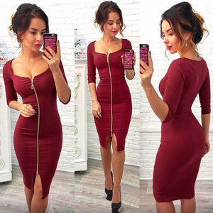 CASEY - Sexy  Zipper Fashion  Low Cut Bodycon Dress  For Club