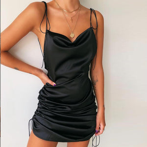 LYNN -  Solid Spaghetti Backless fashion  Casual  Dress