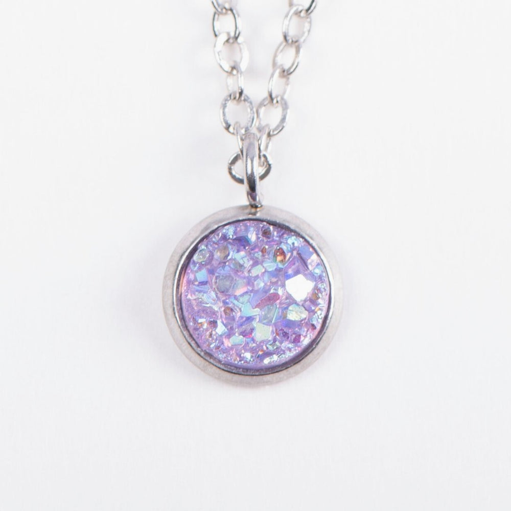 Lilac Druzy Pendant Necklace