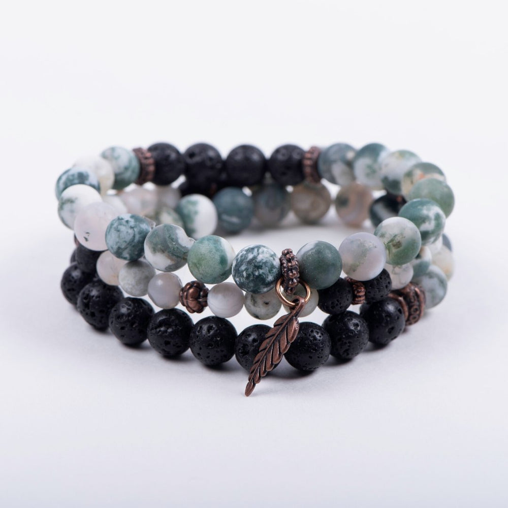 Matte Tree Agate Triple Stack Bracelet - Set of 3