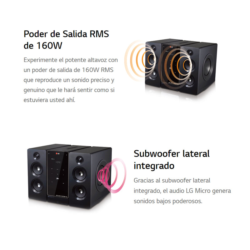 LG Equipo de Sonido Microcomponente | 160W | Bluetooth | NFC | DVD Video