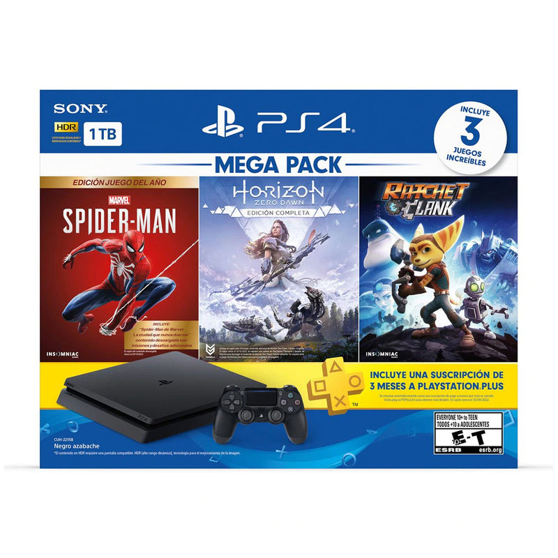 Sony PlayStation 4 Consola 1TB Mega Pack 15 : Spiderman , Horizon Zero Dawn, Ratchet & Clank | 3 Meses PS Plus