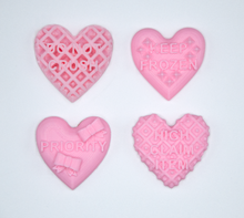 Load image into Gallery viewer, Candy heart stickers from Styklet with the text Do Not Crush, Keep Frozen, Priority, and High Claim Item in pink.