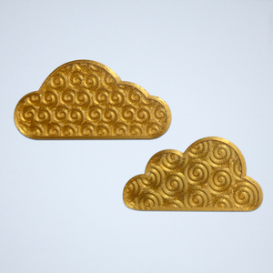 A pair of cloud stickers with a 3D spiral texture, 3D printed in metallic gold.