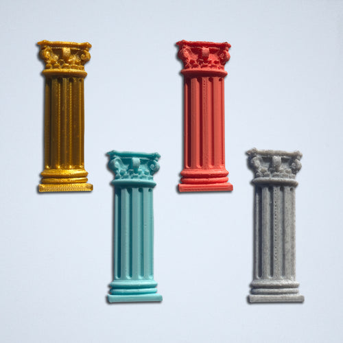 Four Corinthian Column stickers from Styklet, in gold, coral, turquoise blue, and gray.