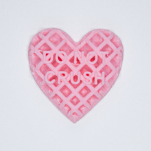"Load image into Gallery viewer, Pink candy heart sticker from Styklet with the text ""Do Not Crush."""