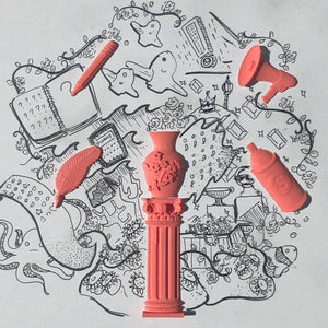 A pen sketch centered around coral colored 3D stickers from Styklet.