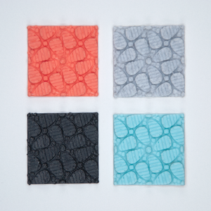 Flower patterned texture stickers in coral, grey, black, and turquoise blue.