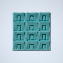 Load image into Gallery viewer, A geometric scale sticker, 3D printed by Styklet in turquoise.