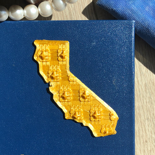 A gold 3D California sticker on a blue notebook cover.