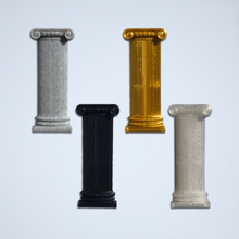 Load image into Gallery viewer, Four Ionic column 3D stickers from Styklet, in grey, gold, black, and white.