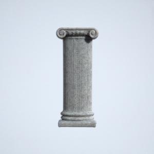 An Ionic column 3D sticker in grey from Styklet.