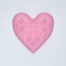 "Load image into Gallery viewer, Pink candy heart sticker from Styklet with the text ""Keep Frozen."""
