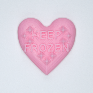 "Pink candy heart sticker from Styklet with the text ""Keep Frozen."""