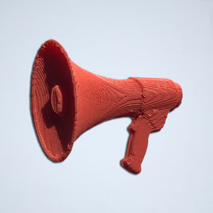 A 3D sticker of a megaphone from Styklet, in a red-orange coral.