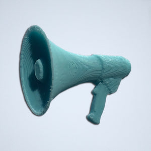 A 3D sticker of a megaphone from Styklet, in turquoise blue.