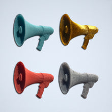 Load image into Gallery viewer, Megaphone 3D stickers from Styklet in turquoise, gold, coral, and gray.