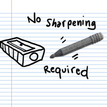 "Load image into Gallery viewer, A gray pencil 3D sticker on binder paper, with a doodle of a pencil sharpener and the words ""No sharpening required."""