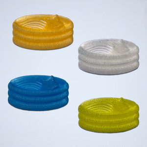 Four 3D stickers of inflatable pools from Styklet, in orange, white, blue, and yellow.