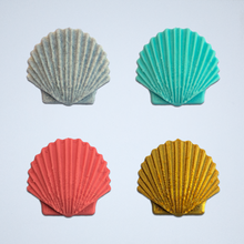 Load image into Gallery viewer, A set of Seashell 3D stickers in gray, turquoise, coral, and gold.