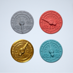 A set of four Speed Meter 3D stickers in gray, coral, gold, and turquoise.