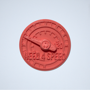A coral Speed Meter 3D sticker by Styklet.