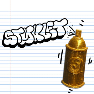 A gold Spray Can Styklet in a graffiti style illustration.