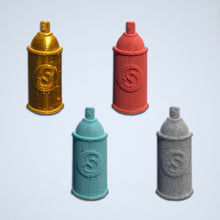 Load image into Gallery viewer, A set of four Spray Can 3D stickers in gold, coral, turquoise, and gray.