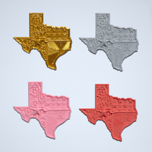 A set of four Texas 3D stickers in gold, gray, pink and coral.