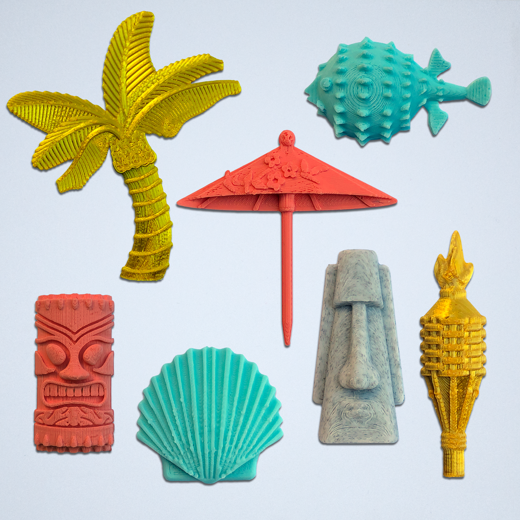 The Tiki Time 3D sticker kit by Styklet, featuring a gold palm tree, a gold tiki torch, a coral drink umbrella, a turquoise pufferfish, a turquoise clam, a gray tiki island head, and a coral tiki totem head.