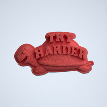 Load image into Gallery viewer, A coral Try Harder 3D sticker by Styklet.